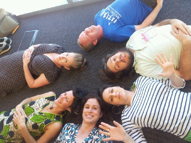 Sydney social entrepreneurs lap up the creative thinking benefits of lying down during their study block last year at School for Social Entrepreneurs. JPG
